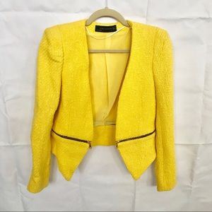 Zara Mellow Yellow Twead Blazer